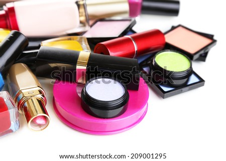 Scattered cosmetics close up - stock photo