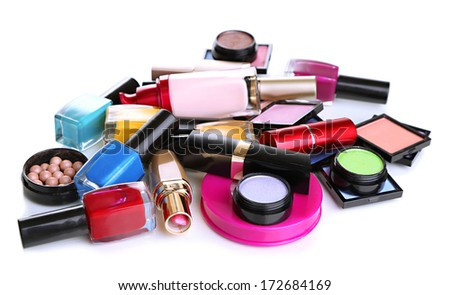 Scattered cosmetics isolated on white - stock photo