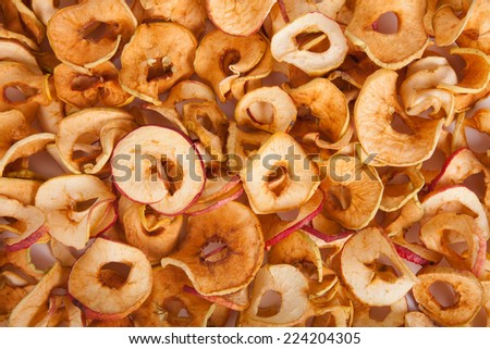 scattered dried apples. background. - stock photo