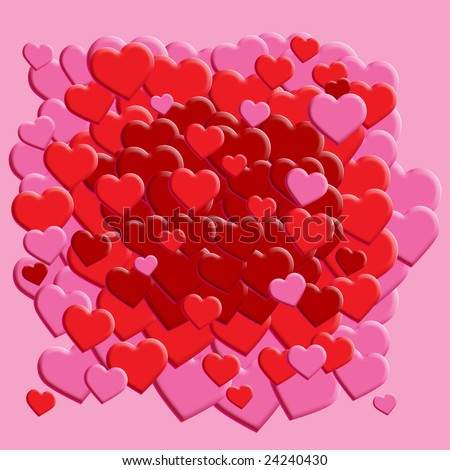 Scattered Heart Background - stock photo