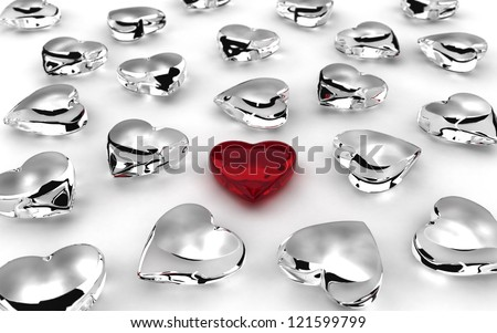 Scattered hearts on white background (computer generated image)