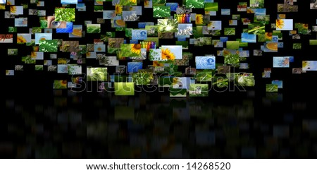 Scattered images with reflection - stock photo