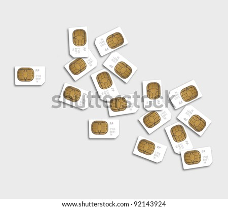 Scattered Pile Of Mobile Phone Sim Cards - stock photo