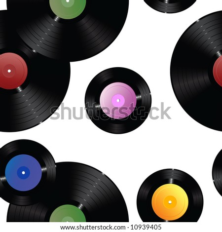 Scattered vinyl records with colorful labels. Seamless raster in any direction. Vector version available in my portfolio.. - stock photo