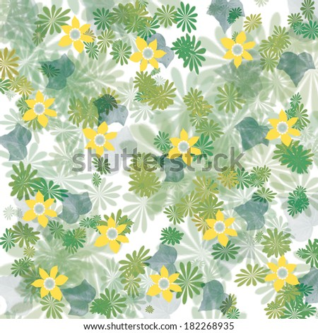 scattered yellow flowers and leaves background illustration  - stock photo