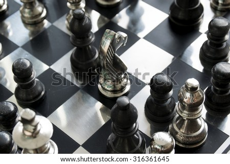 Scattering metallic chess board