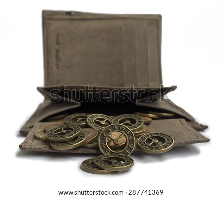 scattering of coins from her purse - stock photo