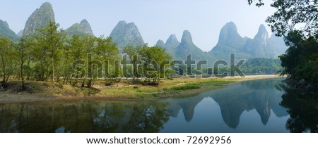 scene in river and mountain of Guilin China - stock photo