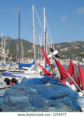 Scene in the fishing village of Andratx, Mallorca, Spain - stock photo