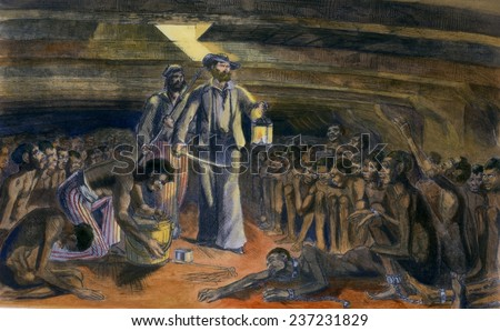 Scene in the hold of the blood-stained Gloria shows a sailor walking among African captives in the hold of the slave ship. From the book REVELATIONS OF A SLAVE SMUGGLER, published in 1860. - stock photo