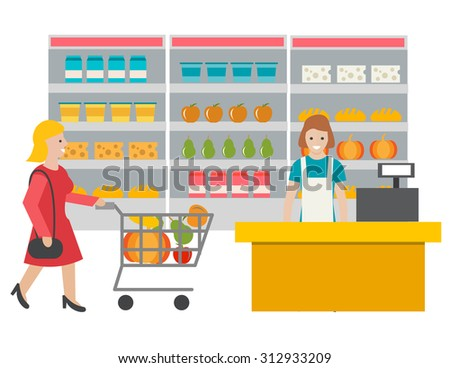 Scene in the store with cashier and buyer. Woman with cart full of grocery products. Cashier at the cash desk, illustration - stock photo