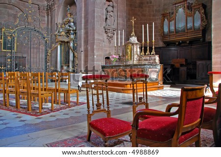 scene into church - stock photo