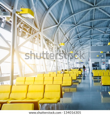 scene of airport at shanghai china. - stock photo