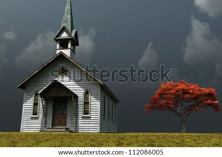 Scene of an old church on a wind swept prairie. - stock photo