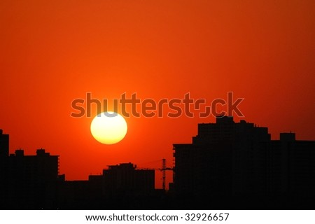 Scene of city edmonton at sunset, alberta, canada - stock photo
