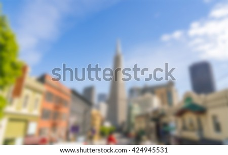 scene of downtown san francisco with a lot of building on the day.  -blured. - stock photo