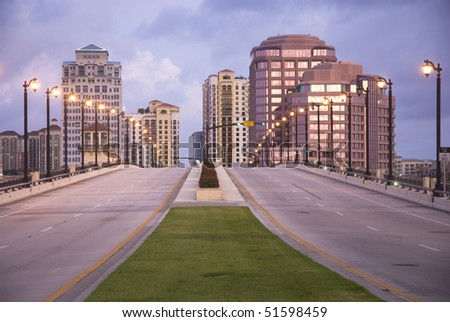 Scene of downtown West Palm Beach, Florida, USA showing Royal Park drawbridge and Phillips Point. - stock photo
