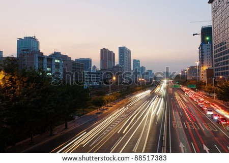 Scene of express way at sunset in Guangzhou, China