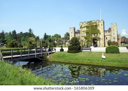 scene of Hever Castle, Kent, England - stock photo