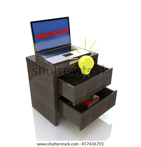 Scene of innovative ideas in the design of information associated with the Internet and new developments. 3d illustration - stock photo