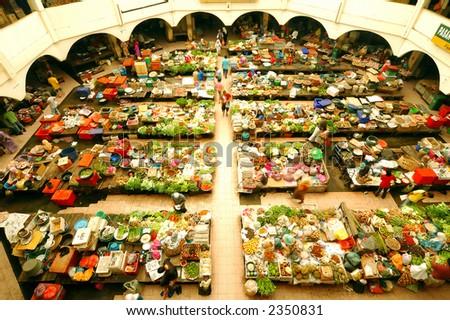 scene of local market in Kelantan, Malaysia. - stock photo