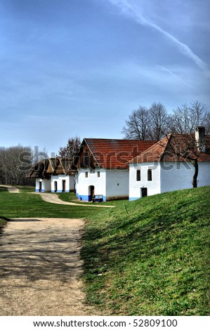 Scene of old cottage from Czech Republic - stock photo