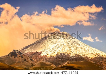 Scene Of Powerful Active Cotopaxi Volcano Erupting In Ecuador, South America