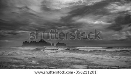 scene  of rock stack island  in Realto beach,Washington,USA.  - stock photo