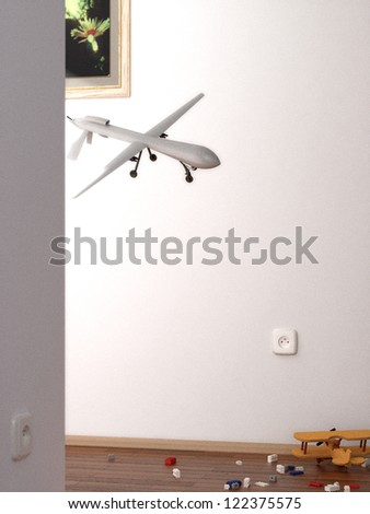 Scene of surveillance drone spying your home - stock photo