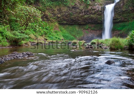 Scene of Tad-Etu waterfall, The deep forest waterfall in Champasak province, Southern Laos.