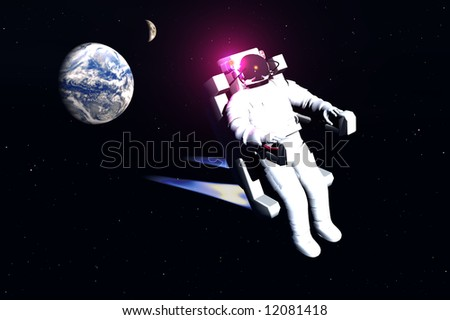 scene of the astronaut in space
