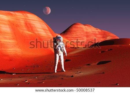 scene of the astronaut on mars