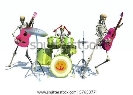 scene of the holiday skeleton  executed in 3 D - stock photo