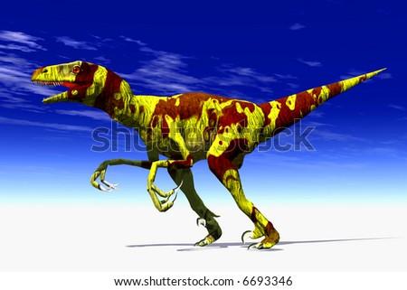 Scene of the speed ravenous dinosaur Raptor - stock photo