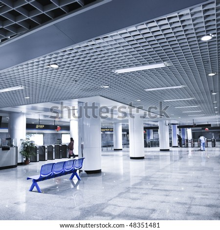 scene of the subway station, hall of the modern building. - stock photo
