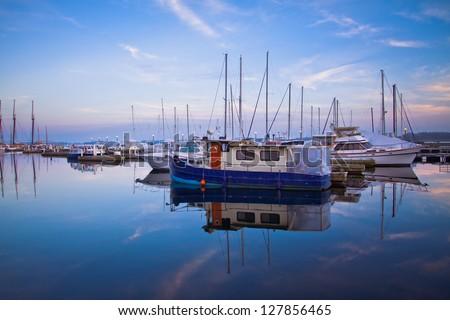 Scene of Toronto Yacht Club during sunset - stock photo