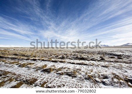scene on the altiplano in the northwest of china - stock photo