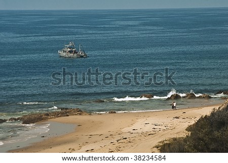 Scene on the Orange County coast of California from Crystal Cove State Park