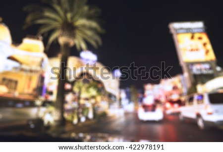 scene on the road at night in Las Vegas,Nevada,USA. -blurred. - stock photo