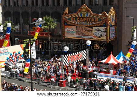 Scene outside the El Capitan Theatre for the world premiere, on Hollywood Boulevard, of Walt Disney Pictures' Herbie: Fully Loaded. June 19, 2005 Los Angeles, CA  2005 Paul Smith / Featureflash - stock photo