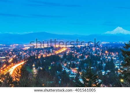 scene overlook view of Portland  city at night,Portland,Oregon,usa. - stock photo