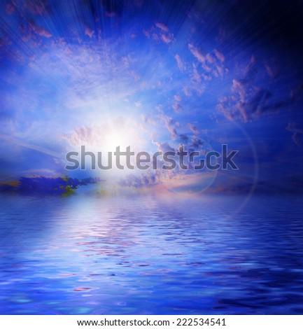 scene sea surface under solar dark sky - stock photo
