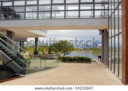 scene viewed from hall for a new residential district - stock photo