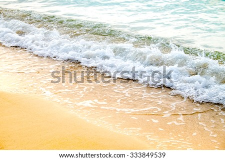 Scene Waves Storm in Koh Chang Island. Thiland Sea - stock photo
