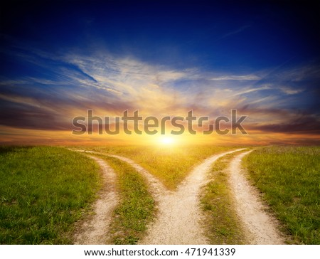 scene with fork roads in steppe on sunset sky background
