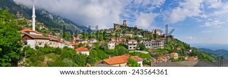 Scene with Kruja castle near Tirana in Albania - stock photo