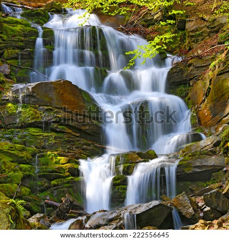 Scene with nice waterfall in Carpathians  - stock photo
