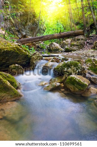 scene with small mountain river - stock photo