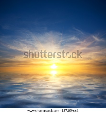 scene with sunset over water surface - stock photo
