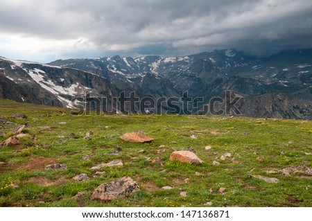 Scenery along the Beartooth Highway near the Beartooth Pass in Wyoming. - stock photo